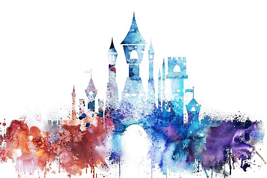 Princess castle watercolor by DimDom