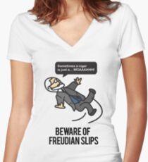 Beware of Freudian Slips Women's Fitted V-Neck T-Shirt