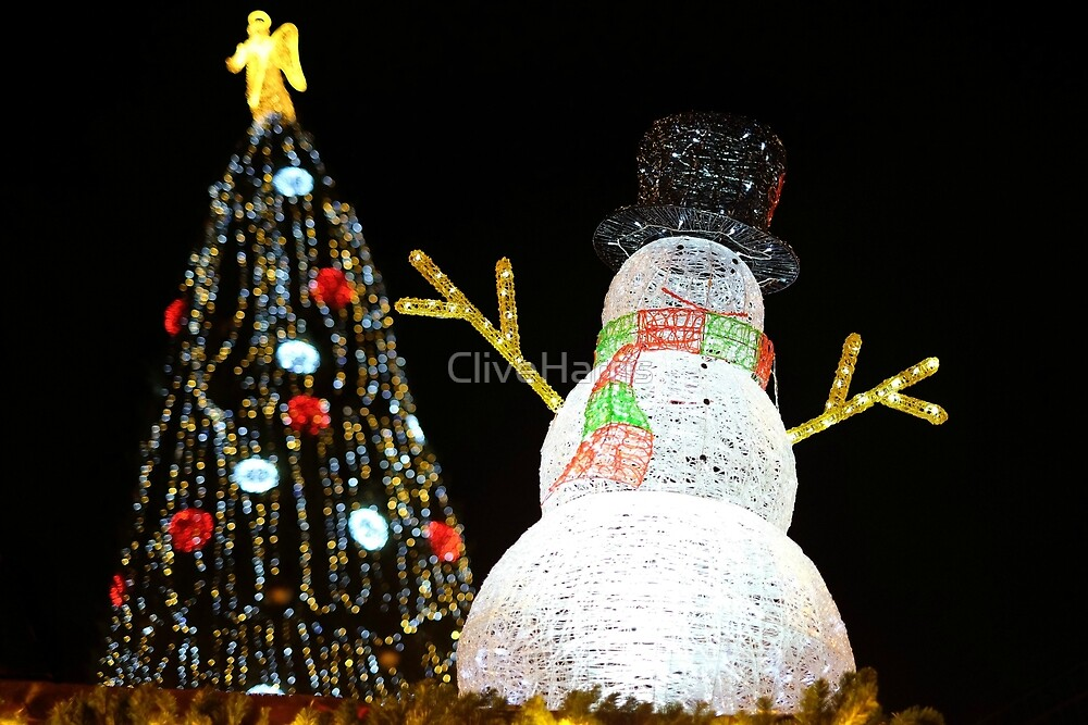 Christmas snowman and tree by CliveHarris