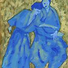 Blue and green aikido practice by Laurence Mergi Rapoport