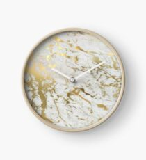 Gold marble on white (original height quality print) Clock