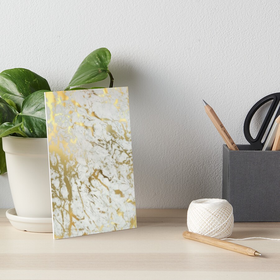 Gold marble on white (original height quality print) Art Board Print