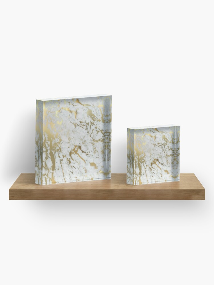 Alternate view of Gold marble on white (original height quality print) Acrylic Block