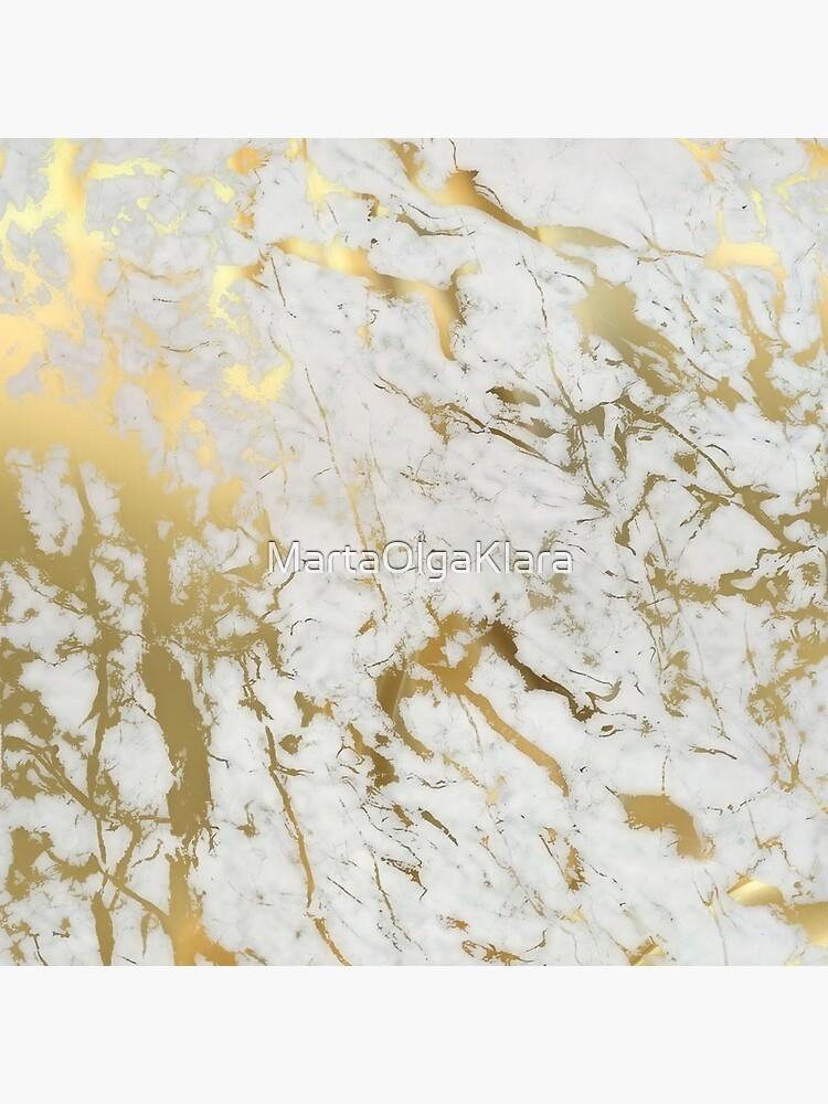 Gold marble on white (original height quality print) by MartaOlgaKlara