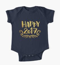 Cute Happy 2017 New Year One Piece - Short Sleeve