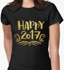 Cute Happy 2017 New Year Womens Fitted T-Shirt
