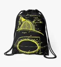firefighter fireman patent art  Drawstring Bag