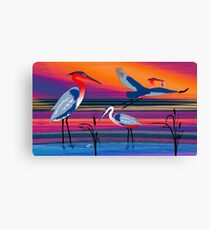 3 Red Herons Canvas Print