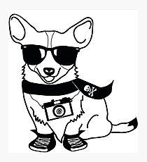 Hipster Corgi - Cute Dog Cartoon Character - Corgis Rule Photographic Print