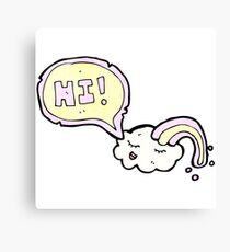 cartoon cloud saying hi Canvas Print