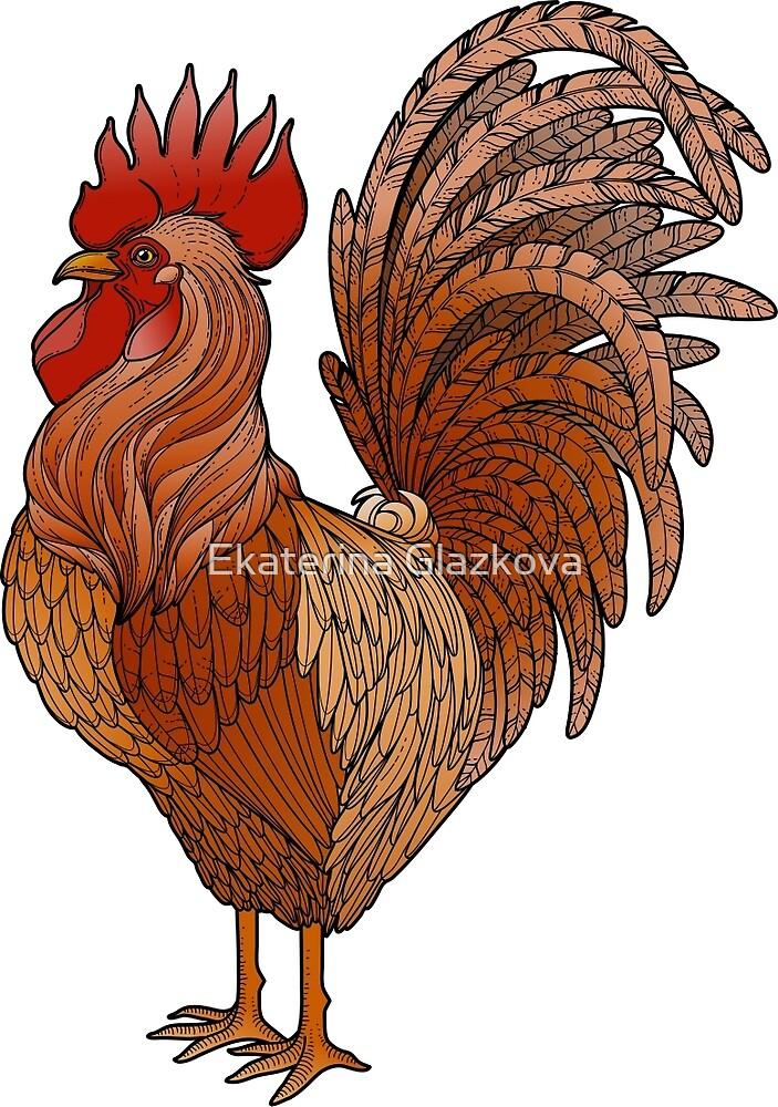 Graphic rooster  by Ekaterina Glazkova