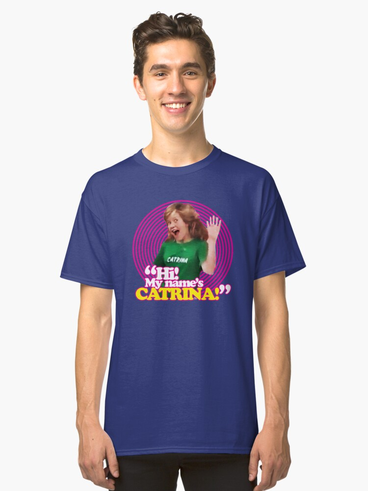 hi my name s catrina pink windmill kids classic t shirt by