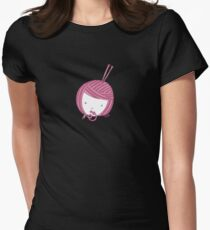 Pink Knit Womens Fitted T-Shirt
