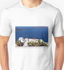 White terrace with cacti  in Santorini, Greece T-Shirt