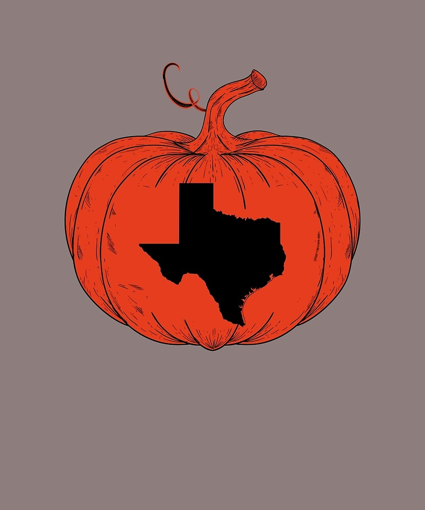 Texas Halloween Pumpkin State Outline Gift T-Shirt by AlwaysAwesome