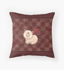Cute Winged Piggy Throw Pillow