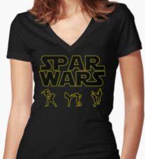 SPAR WARS TAEKWONDO MMA KARATE Women's Fitted V-Neck T-Shirt