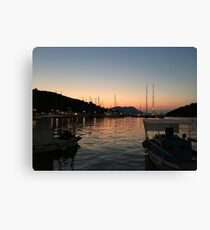 Sunset at Vathi town  Canvas Print