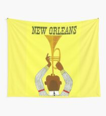 """NEW ORLEANS"" Vintage Mardi Gras Print Wall Tapestry"