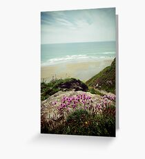 Pinks on the cliff at Whitsands Greeting Card