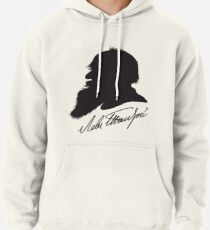 Leo Tolstoy profile portrait and signature Pullover Hoodie
