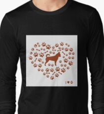 Nice picture of chihuahua silhouette on a background of dog track in the form of heart. Long Sleeve T-Shirt