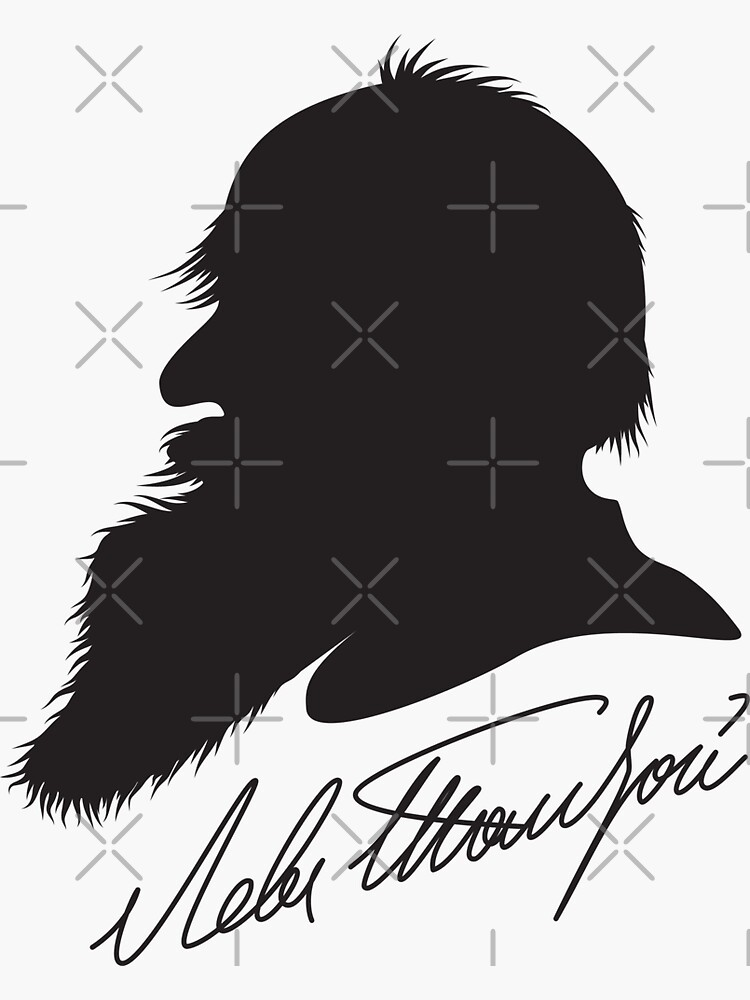 Leo Tolstoy profile portrait and signature by kislev
