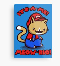 It's-a-me! Meow-rio! (Text ver.) Metal Print