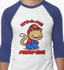 It's-a-me! Meow-rio! (Text ver.) Men's Baseball ¾ T-Shirt
