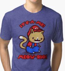 It's-a-me! Meow-rio! (Text ver.) Tri-blend T-Shirt