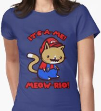 It's-a-me! Meow-rio! (Text ver.) Women's Fitted T-Shirt