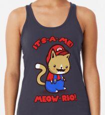 It's-a-me! Meow-rio! (Text ver.) Racerback Tank Top