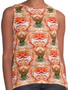 Abstract Peach Rose Flower Contrast Tank