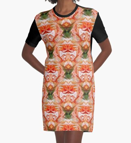Abstract Peach Rose Flower Graphic T-Shirt Dress