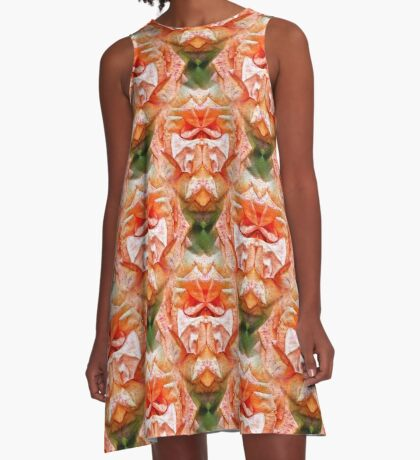 Abstract Peach Rose Flower A-Line Dress