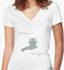 Cute picture with hand holding out a gift and an inscription: thank you. Women's Fitted V-Neck T-Shirt