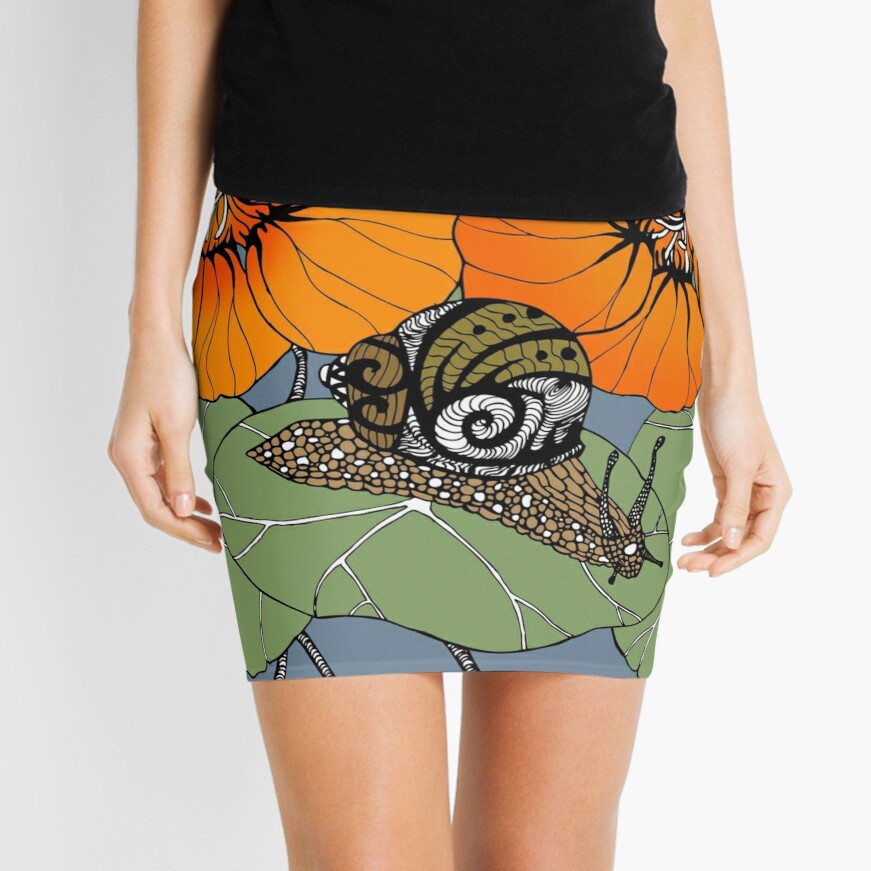 Snail with Nasturtiums Mini Skirt