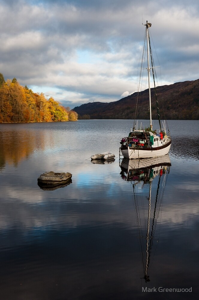 Saling Boat Reflected in Lake by Mark Greenwood