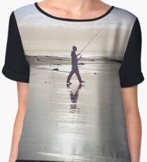 lone fisherman fishing on the sunny Kerry beach Women's Chiffon Top