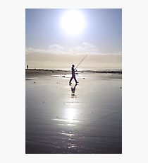 lone fisherman fishing on the sunny Kerry beach Photographic Print