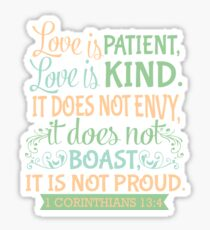 1 Corinthians 13:4 Pink Green and Blue Typographic Design  Sticker