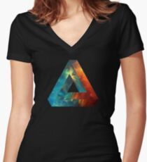 Abstract Geometry: Penrose Nebula (Fire Red/Orange/Blue) Women's Fitted V-Neck T-Shirt