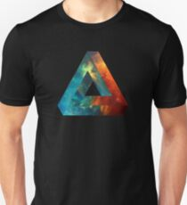 Abstract Geometry: Penrose Nebula (Fire Red/Orange/Blue) Unisex T-Shirt