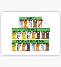 Cats in Santa hats Happy Christmas from Washington. Sticker