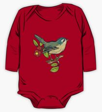 Bird On A Branch With Beige Background One Piece - Long Sleeve