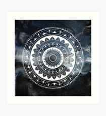 Gentle with my words blue and white hand drawn mandala Art Print