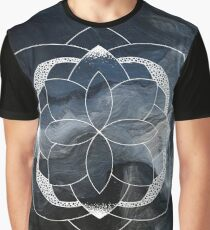Concentration blue and white hand drawn mandala Graphic T-Shirt