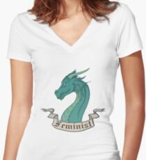 FEMINIST - Dark Dragon Women's Fitted V-Neck T-Shirt