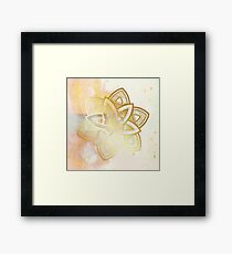 Centered and open pink and white hand drawn mandala Framed Print