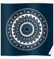Expressive blue and white hand drawn mandala Poster